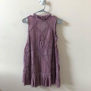 Free People One Purple Lace Sleeveless Top-Size XS